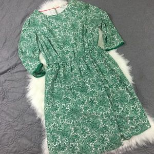 Green Printed Faux Wrap 3/4 Sleeve Dress 10