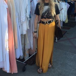 Gold Forever 21 Silk Maxi - S