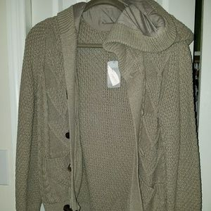 Taupe Sweater W/ Buttons