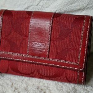Coach leather and cloth coin wallett