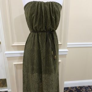 City Triangles Green Lace Maxi Dress