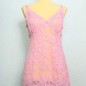 Victoria's Secret Pink Lace Stretch Nightgown Sz L