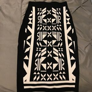 Black and White Aztec Pencil Skirt