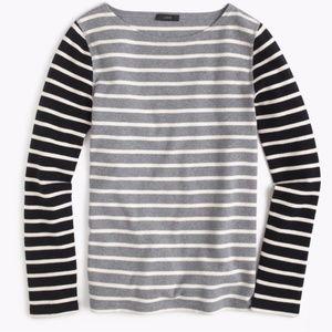 J Crew Stripe Waffle T Shirt Black L