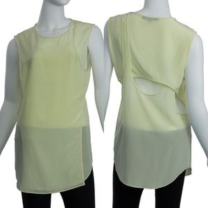 Alexander Wang Yellow cross back silk top