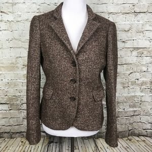 Zara Woman Size 8 Brown Wool Blazer Herringbone