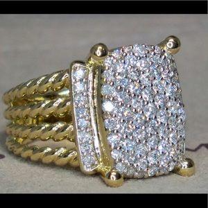 DAVID YURMAN WHEATON 18K GOLD 16X12mm DIAMOND RING