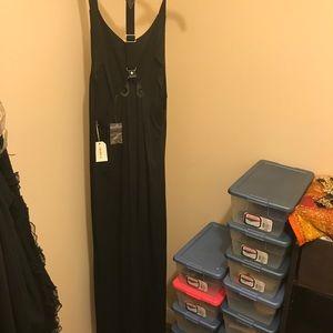 Suspender long button down dress