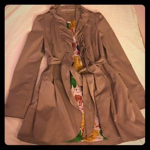 Anthropologie trench coat with scallop finish