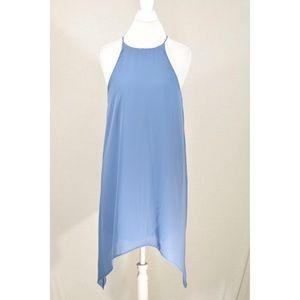 Blue Asymmetrical high Neck Dress