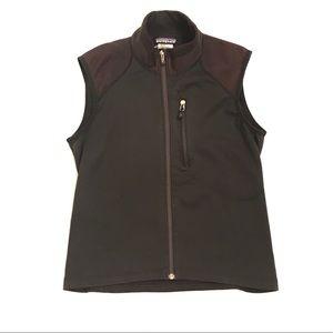 Patagonia Black/Brown Zip Up Vest With Mesh Pocket