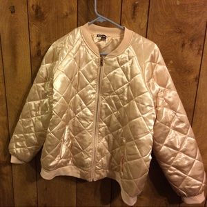 Light pink puffy bomber jacket