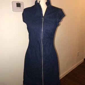 Blue jean zip up dress old navy