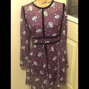 Xhilaration Velvet Trim Floral Print Dress