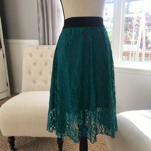 LuLaRoe Skirt LOLA NEW Lace Skirt Women's Teal XXS
