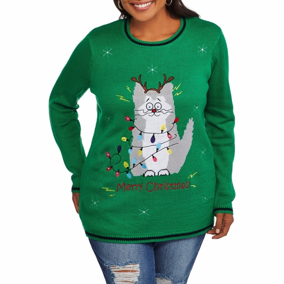 electrocuted kitty led light up christmas sweater