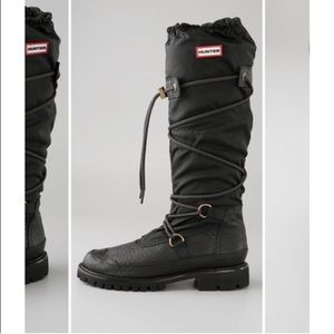 Lace up knee high hunter boots