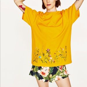 Zara floral embroidery t-shirt