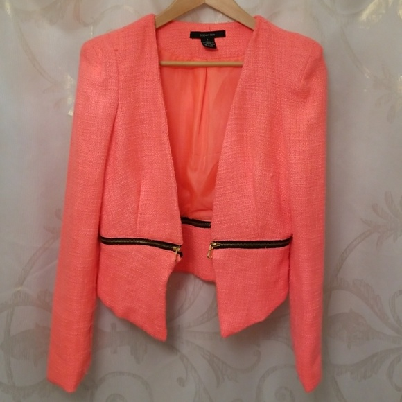 Jackets & Blazers - Neon coral fitted jacket blazer New