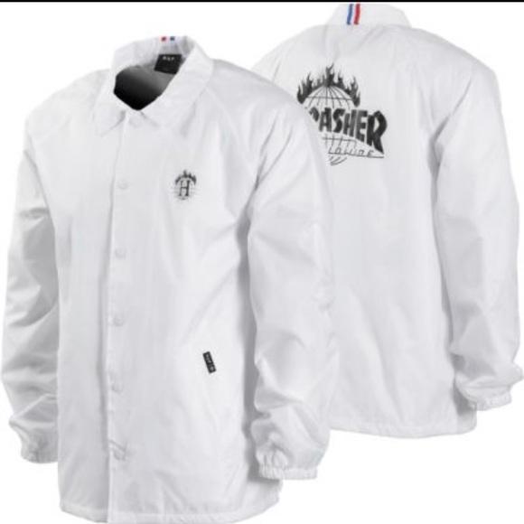 69bf7d647ba2 HUF x Thrasher white coach jacket