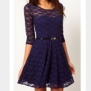H&M deep purple lace 3/4 sleeve dress