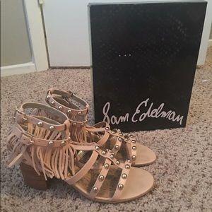 Sam Edelman Pink Studded Fringe Sandals