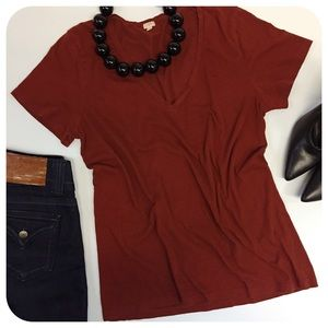 J Crew Rust Red Vintage Cotton V Neck Tee
