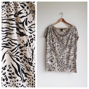 H&M ivory and black cheetah print tee, size M
