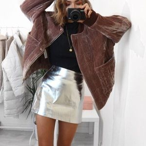 XSmall Faux Leather Silver Skirt SHIPS ASAP
