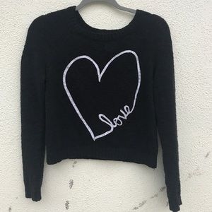 Black LOVE SWEATER heart embroider knit CROPPED M
