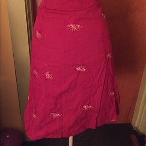 Soulmate fuchsia embroidered skirt nwt