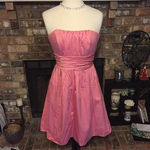 David's bridal pink strapless bridesmaid dress 8