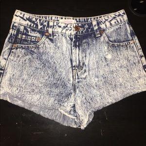 Acid Wash High Wasted Shorts