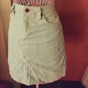 Delias light blue mini cord skirt