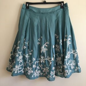 Talbots Teal Linen Pleated Cream Embroidered Skirt