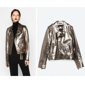 Zara Metallic Leather Biker Jacket