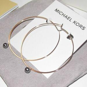 MICHAEL KORS Rose Goldtone Hoop Earrings with Box
