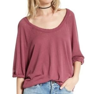 NWT Free People Moonlight Tee Mulberry Sz M