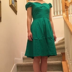 NWT Green Off the Shoulder Dress
