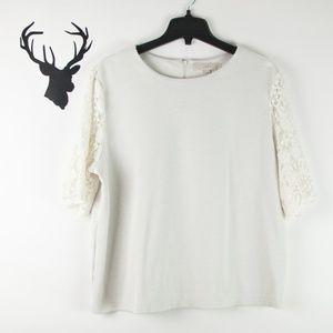 LOFT Sweatshirt Lined Lace Sleeve Top