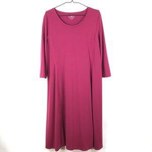 L.L.Bean Raspberry Knot Swing Midi Dress Sz L 377
