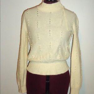 Vintage Cream Angora Sweater Fuzzy Sweater S