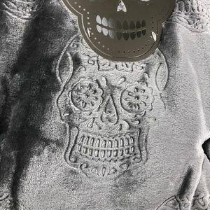 Grey Sugar Skull Tribal Embossed Plush Throw QUEEN