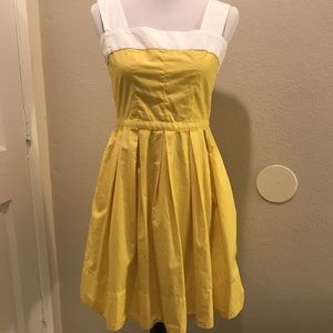 gap yellow and white cotton pleated dress