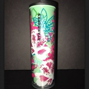 Starbucks Green And Pink FLoral, Tropical Tumbler