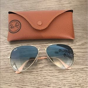 Ray Ban aviator gradient sunglasses in blue/gold