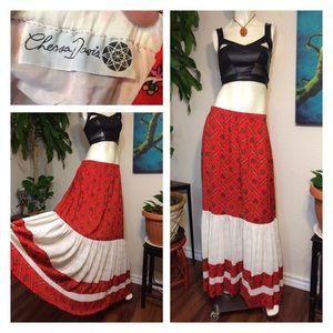 Vtg 70s Peasant Skirt Hippie Boho Festival Maxi