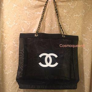 Chanel Black Mesh Gold Chain Tote Bag VIP Gift