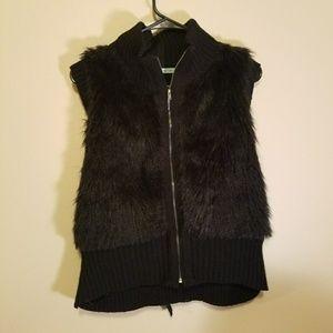 Maurcies black faux fur full zip vest