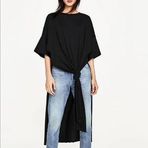 Zara knotted high low t shirt